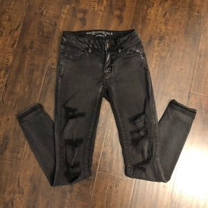 American Eagle Outfitters distressed black jeans